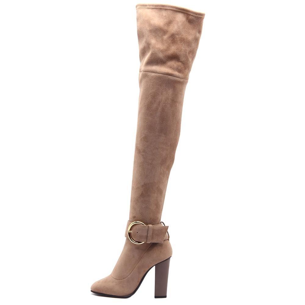 e1ce6498e97 Giuseppe Zanotti Alabama 105 CRD Women Round Toe Suede Tan Over the Knee  Boot
