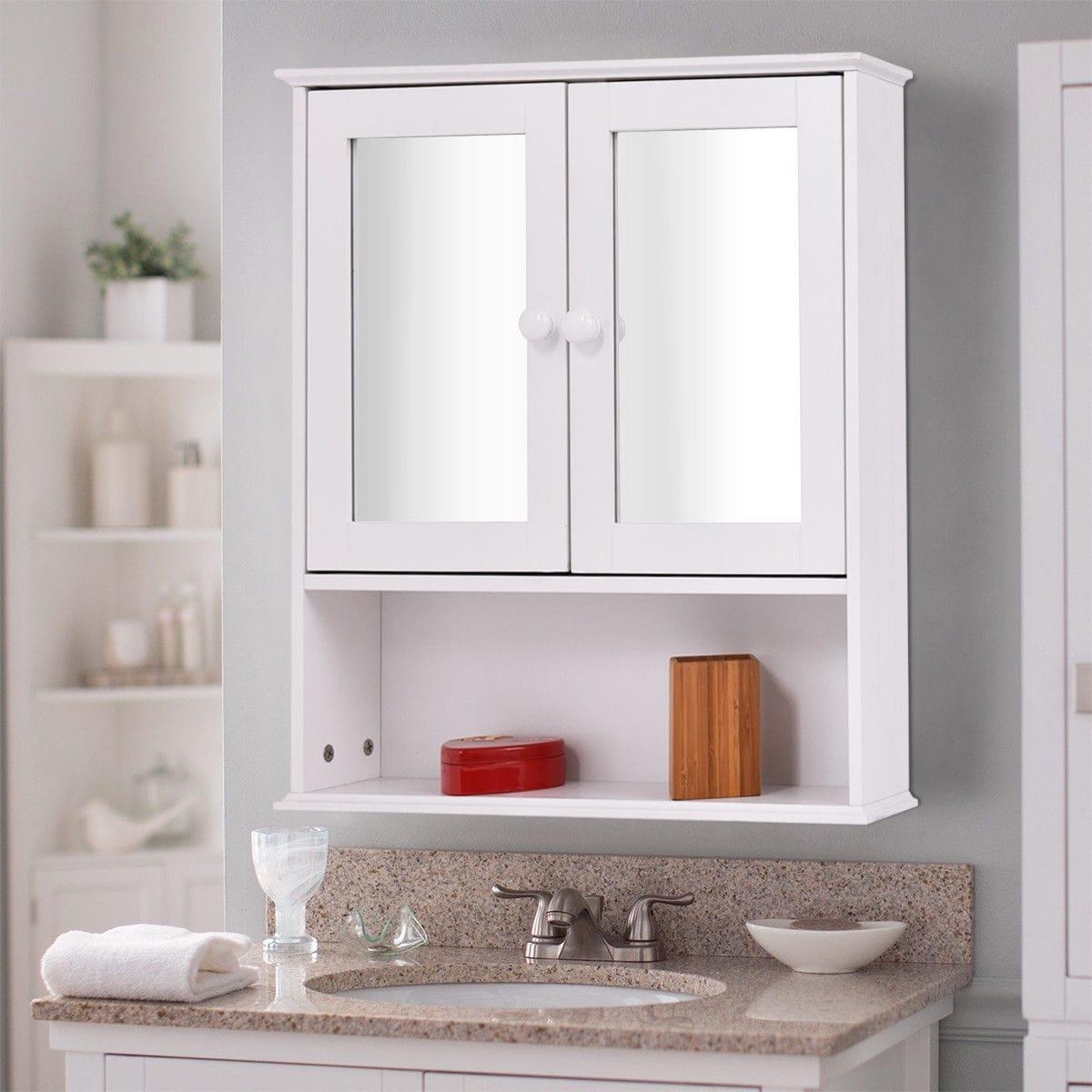 Shop Costway New Bathroom Wall Cabinet Double Mirror Door Cupboard ...