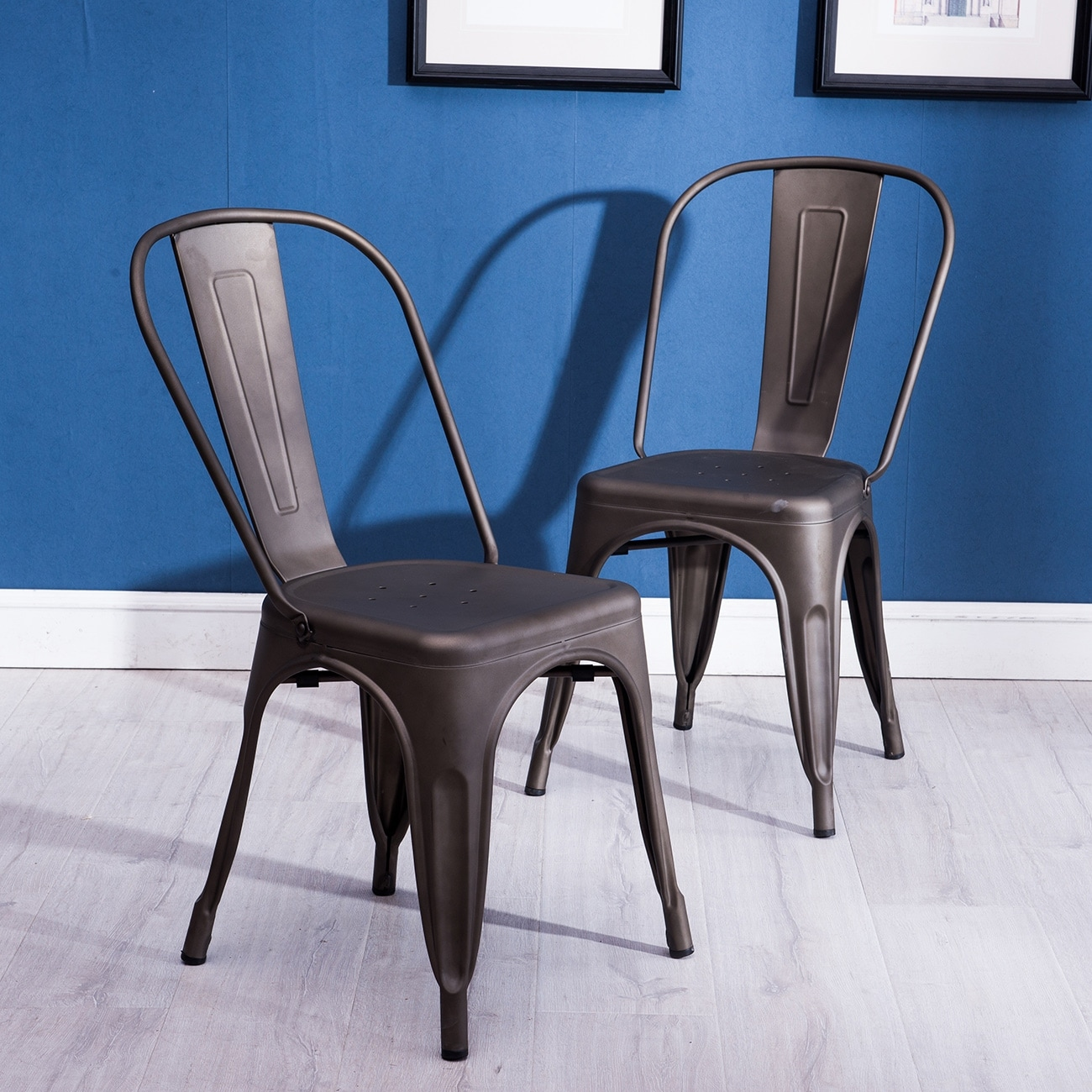 Belleze Industrial Style Dining Bistro Style Side Chair Stackable ...