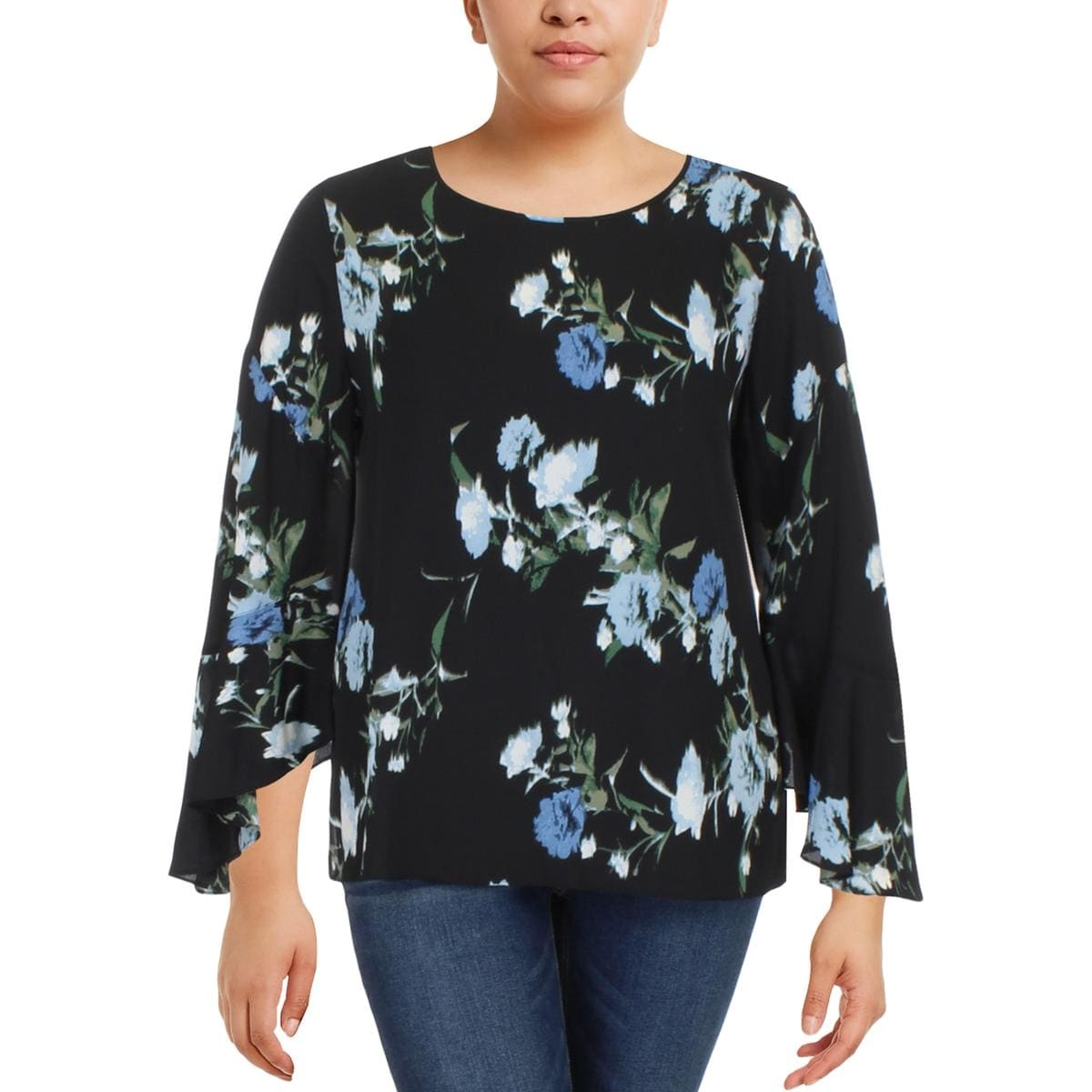 c4406e128acb Shop Vince Camuto Womens Blouse Floral Print Bell Sleeves - Free Shipping  On Orders Over $45 - Overstock - 22866741