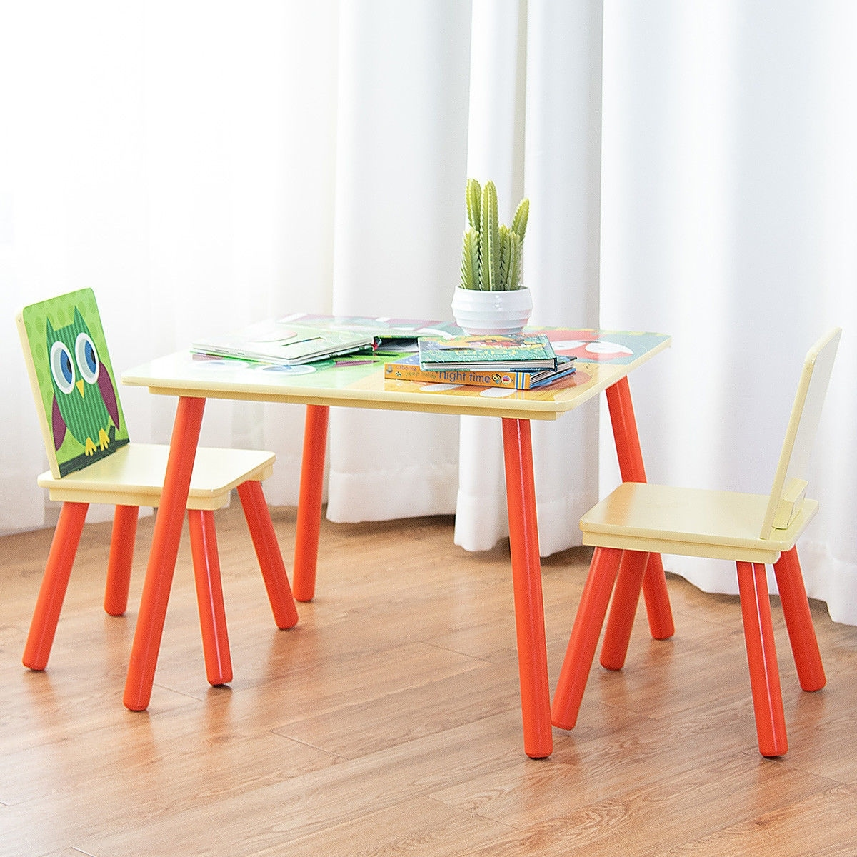 Exceptionnel Shop Gymax Kids Table And 2 Chairs Set For Toddler Baby Gift Desk Furniture  Cartoon Pattern   Free Shipping Today   Overstock.com   22827568