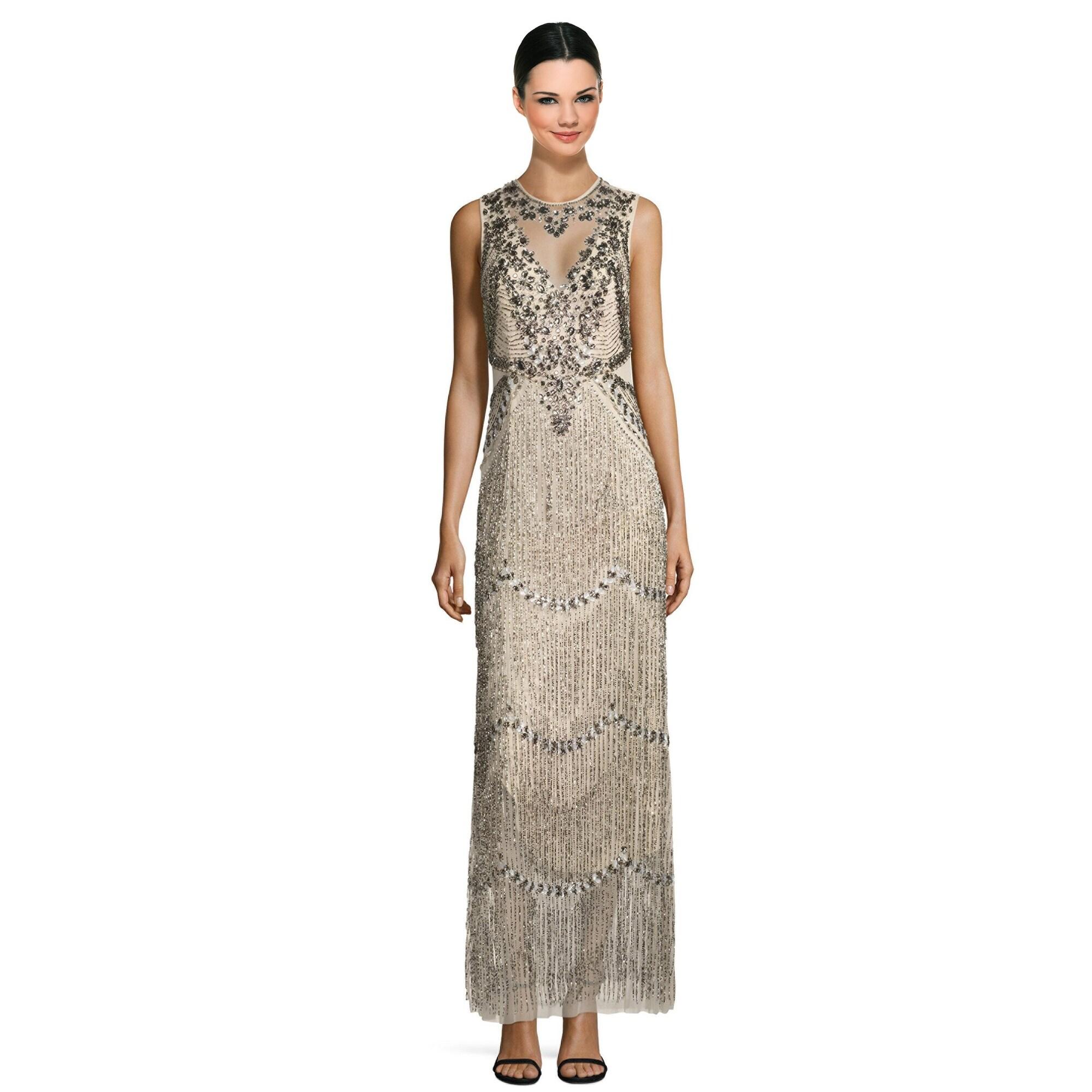 Aidan Mattox Sleeveless Beaded Fringe Evening Gown Dress - Free ...