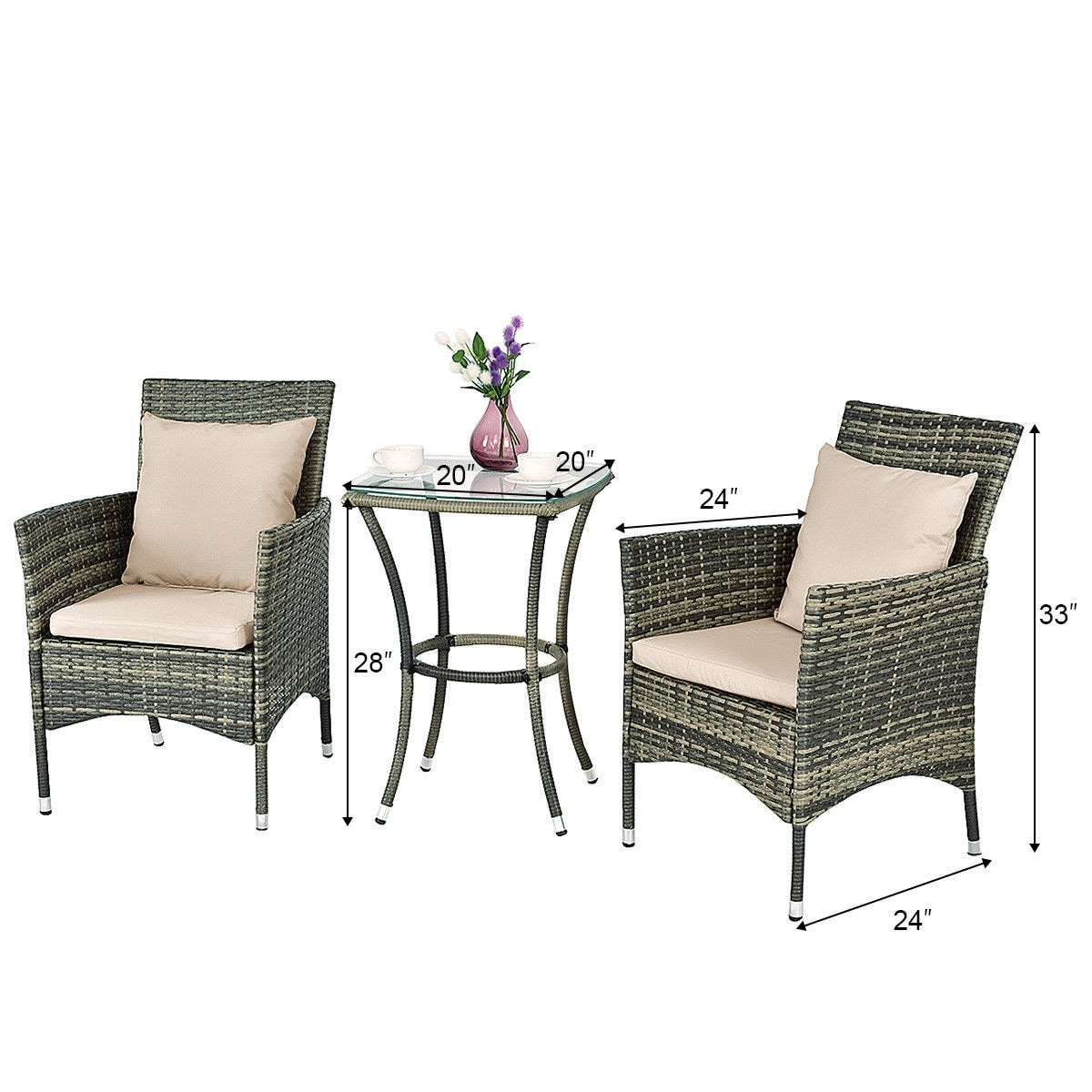 Costway 3pcs Patio Rattan Furniture Set Chairs Table Garden Coffee As Pic On Free Shipping Today 17284169