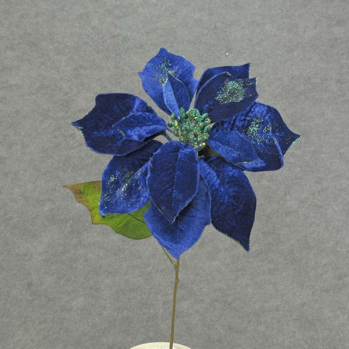 Shop 1 Pc 20in Tall Artificial Blue Velvet Poinsettia Spray 1