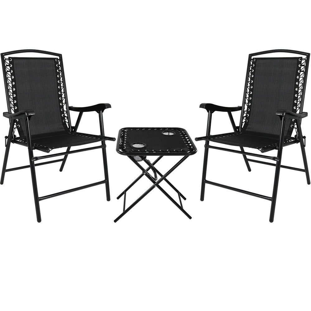 Magnificent Sunnydaze Set Of 2 Black Outdoor Suspension Folding Patio Chairs With Table Download Free Architecture Designs Grimeyleaguecom