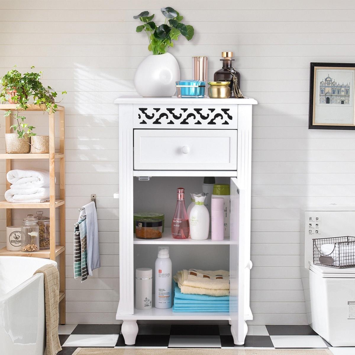 Shop Gymax Storage Floor Cabinet Bathroom Organizer Floor Cabinet ...