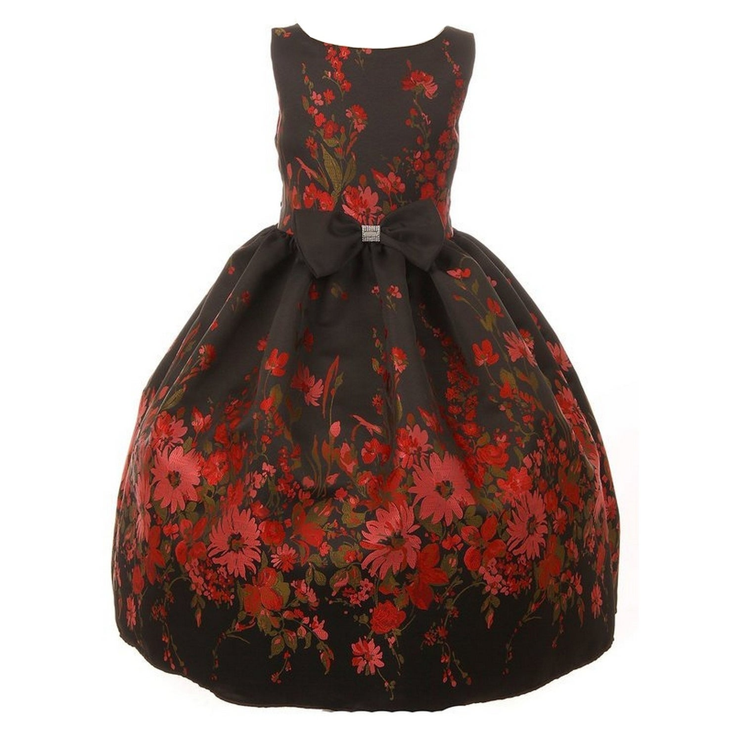 7e52eed50 Shop Little Girls Black Red Flower Embroidery Jacquard Bow Christmas ...