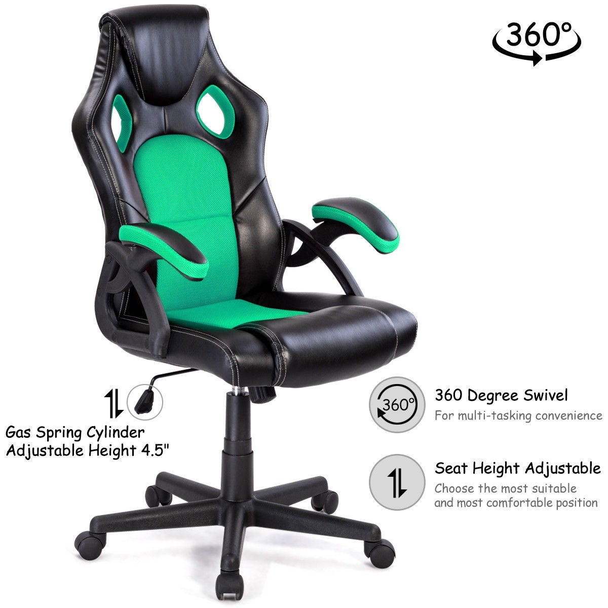 Costway Pu Leather Executive Bucket Seat Racing Style Office Chair Computer Desk Task Free Shipping Today 15902418