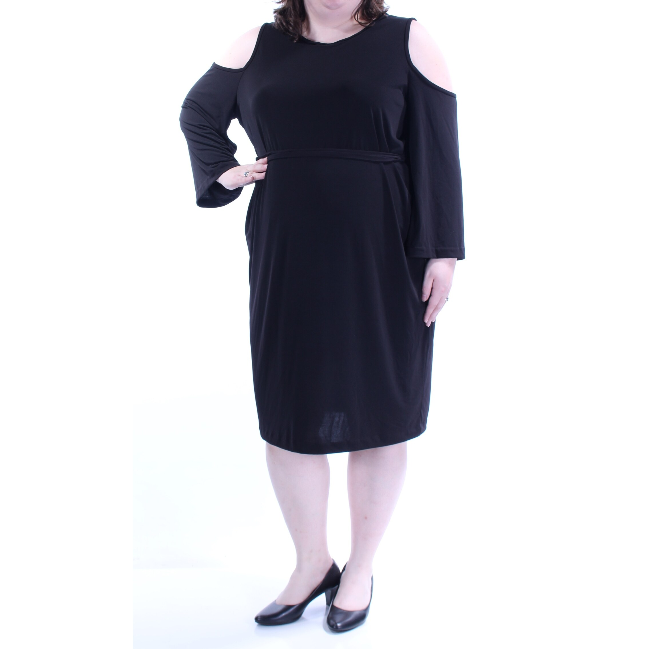 CALVIN KLEIN Womens Black Tie Cut Out Long Sleeve Jewel Neck Below The Knee  Empire Waist Dress Plus Size: 20W