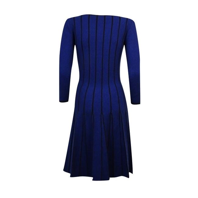 Shop Lauren Ralph Lauren Womens Pleated Flare Sweater Dress Navy