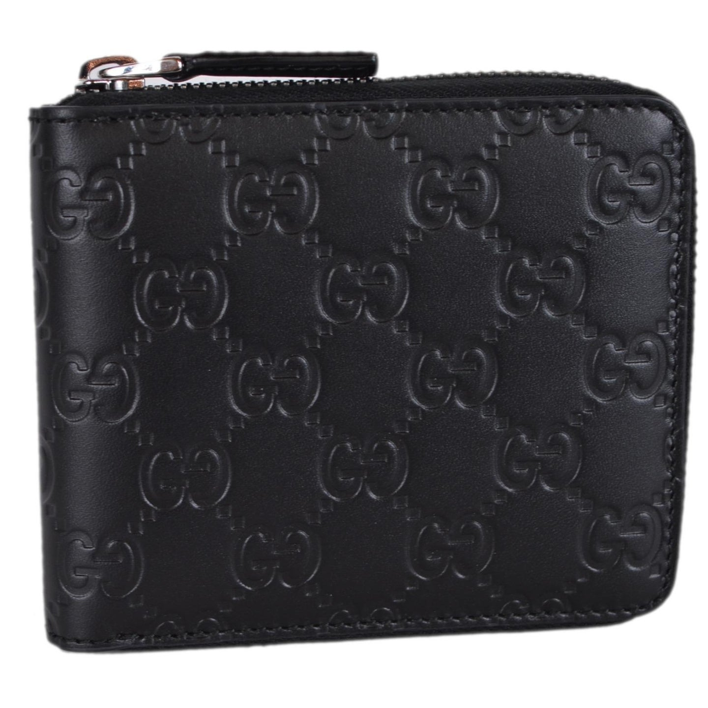 2b4d15670e2 Shop Gucci 473964 Black Leather GG Guccissima Zip Around Small Wallet - 5   x 4