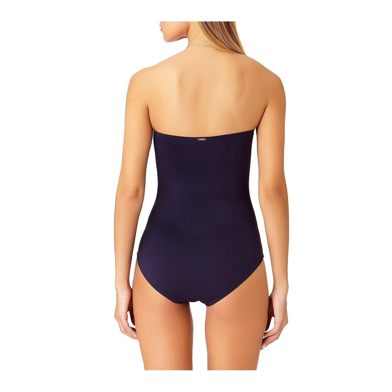 d890e5e4e8b Anne Cole Women Twist Front Shirred One Piece Strapless Swimsuit