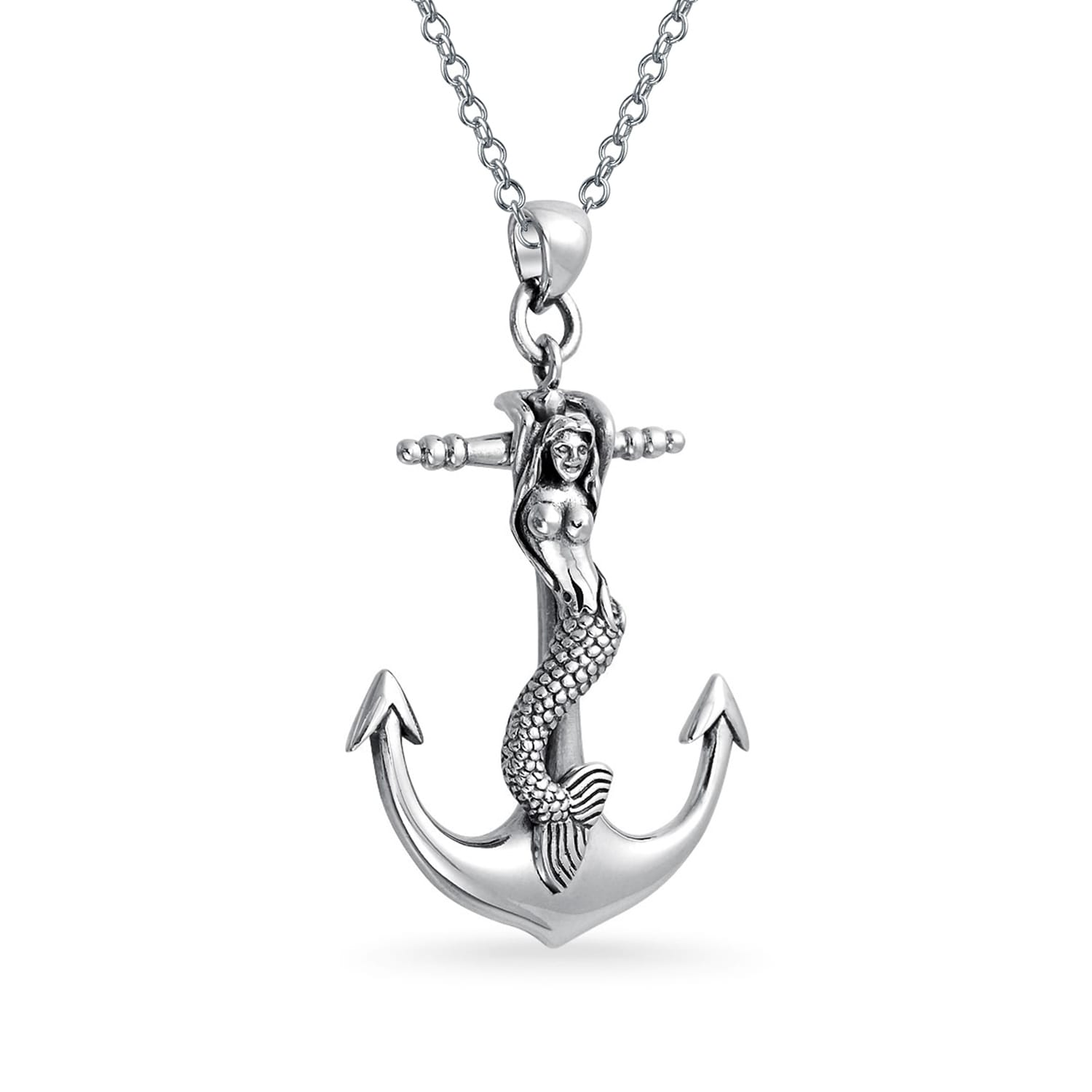 Sterling Silver Oxidized Antiqued Round Mermaids Tail Pendant