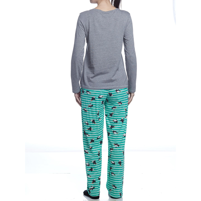 74d59efea7ee Hue Sleepwear Women s Penguin Swimmer Long Sleeve Pajama Set With Socks