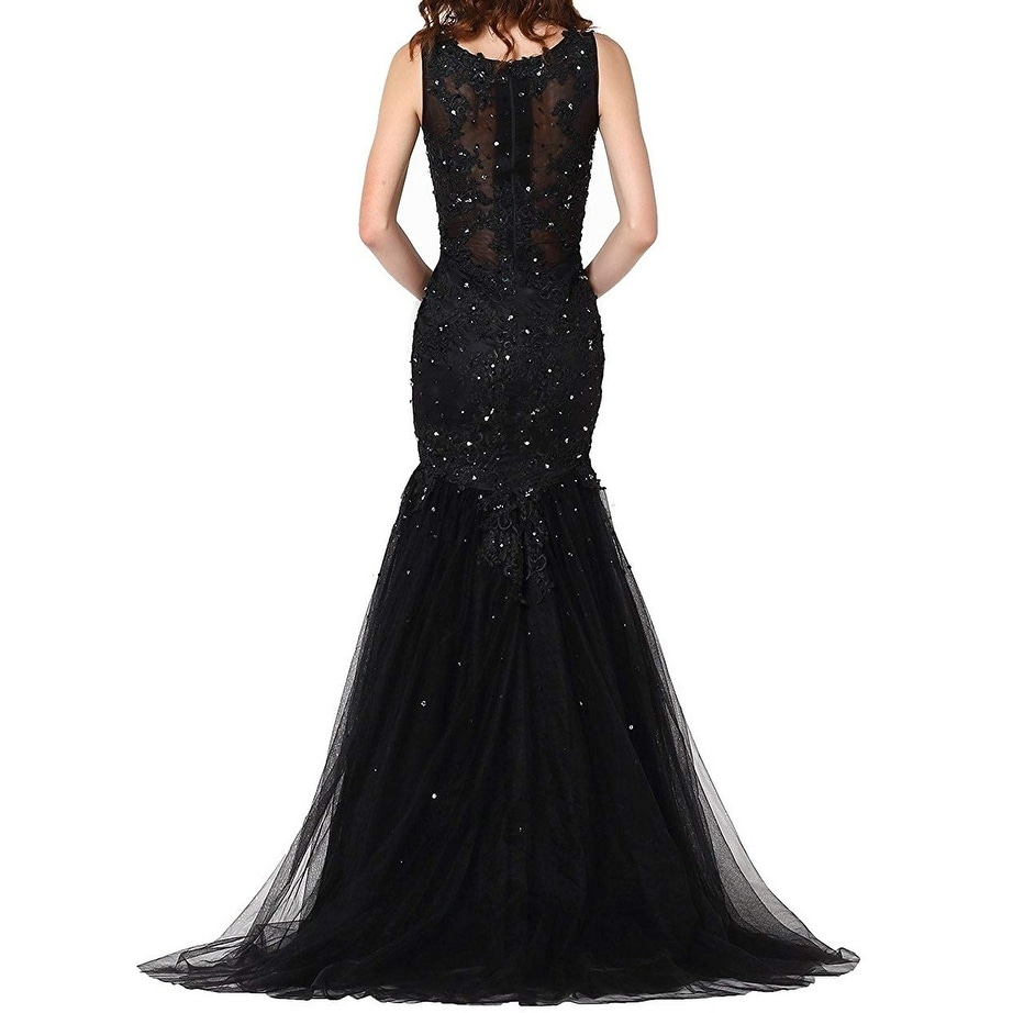 d70ab05a Shop Vegeron Black Women's Size 4 Embroidered Sequin Mermaid Gown ...