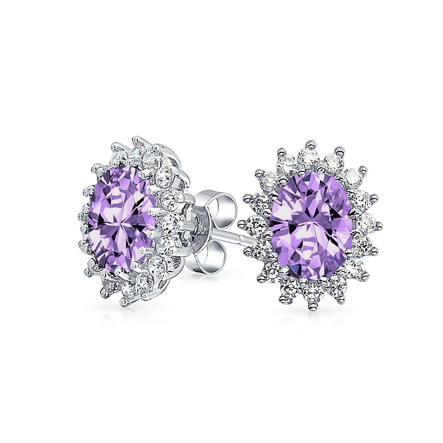 Bling jewelry oval purple cz flower crown stud earrings 925 sterling bling jewelry oval purple cz flower crown stud earrings 925 sterling silver 12mm free shipping on orders over 45 overstock 24157852 izmirmasajfo