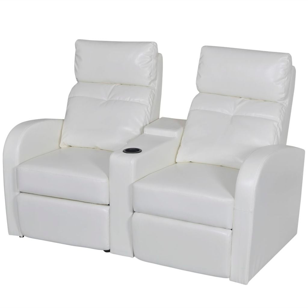 Vidaxl Artificial Leather Home Cinema Recliner Reclining Sofa 2 Seat White Free Shipping Today 18964608