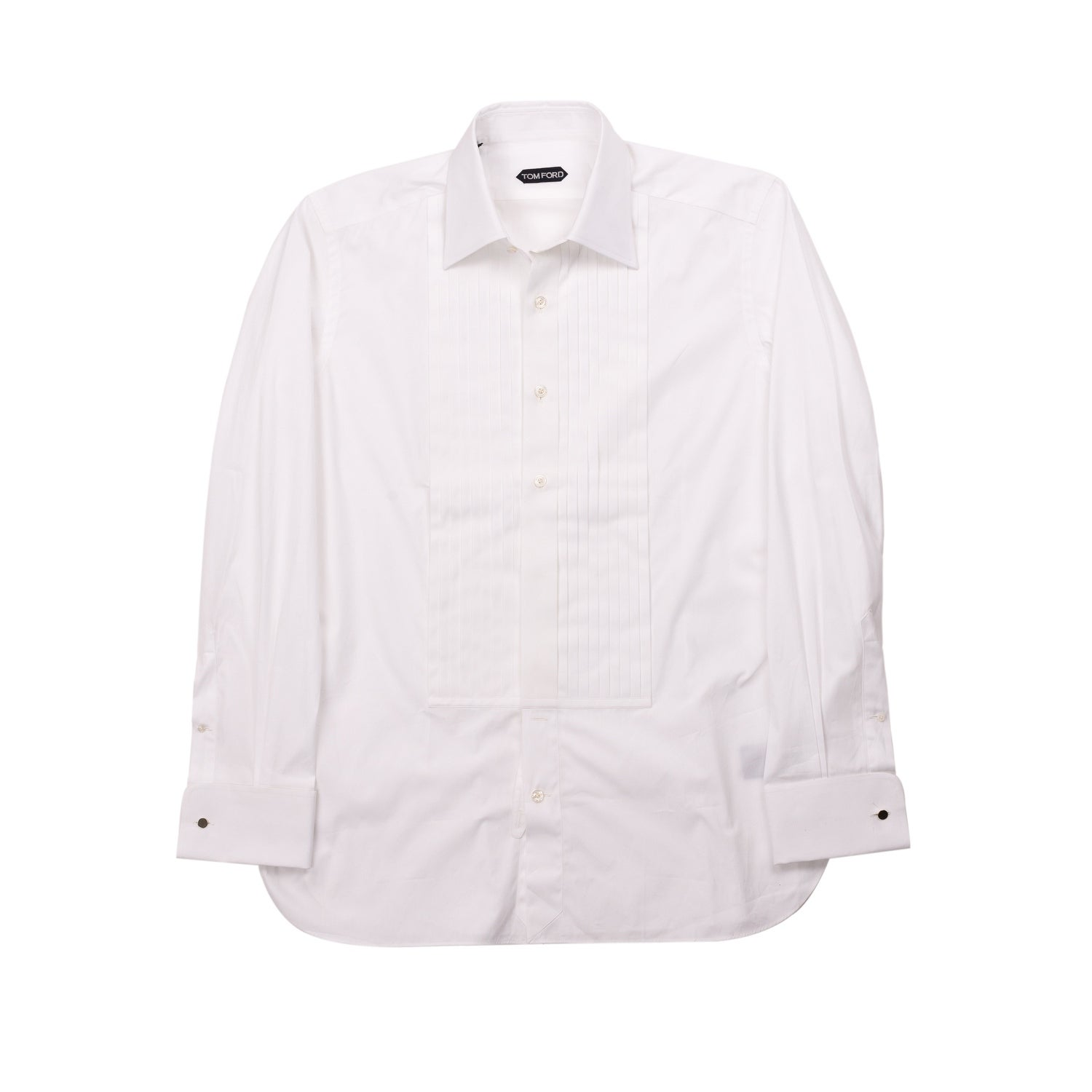 New Tom Ford Mens Pure Cotton White Pleated Chest Tuxedo Slim Fit