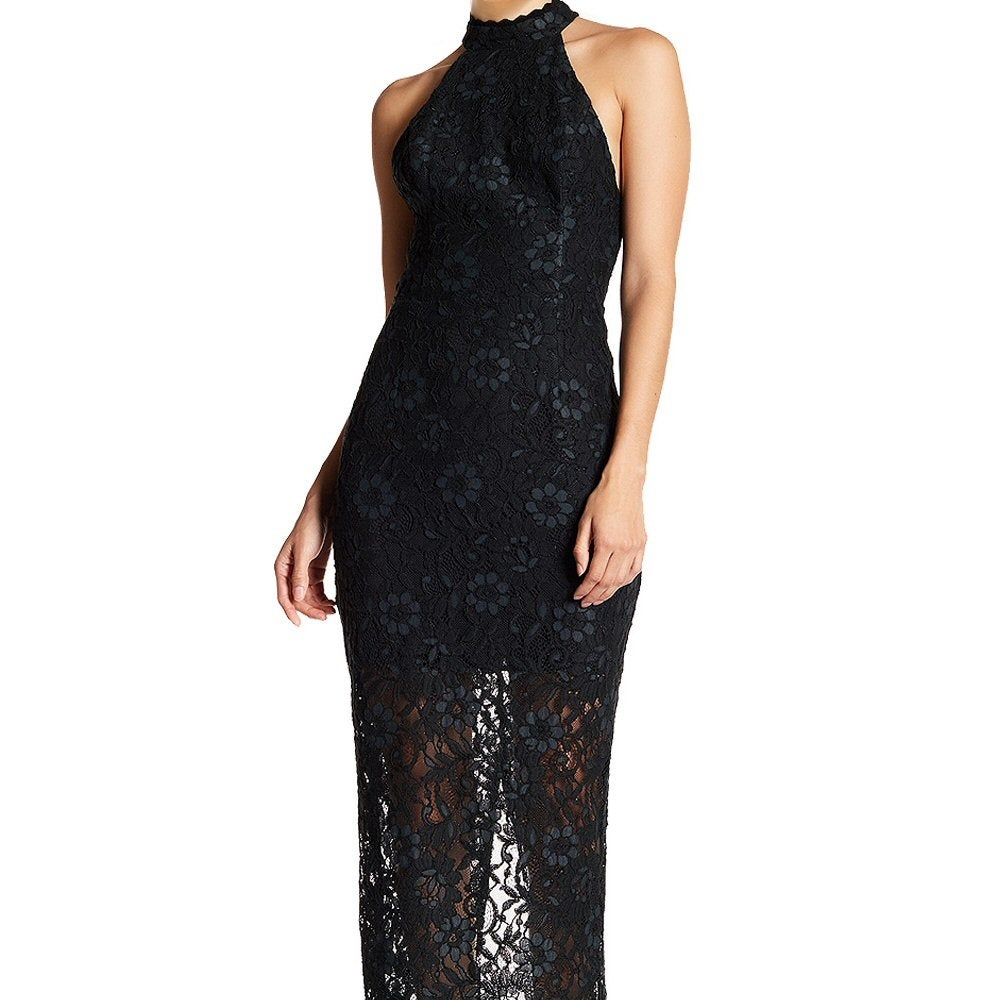 Shop ABS by Allen Schwartz Floral Lace Halter Evening Gown Dress ...