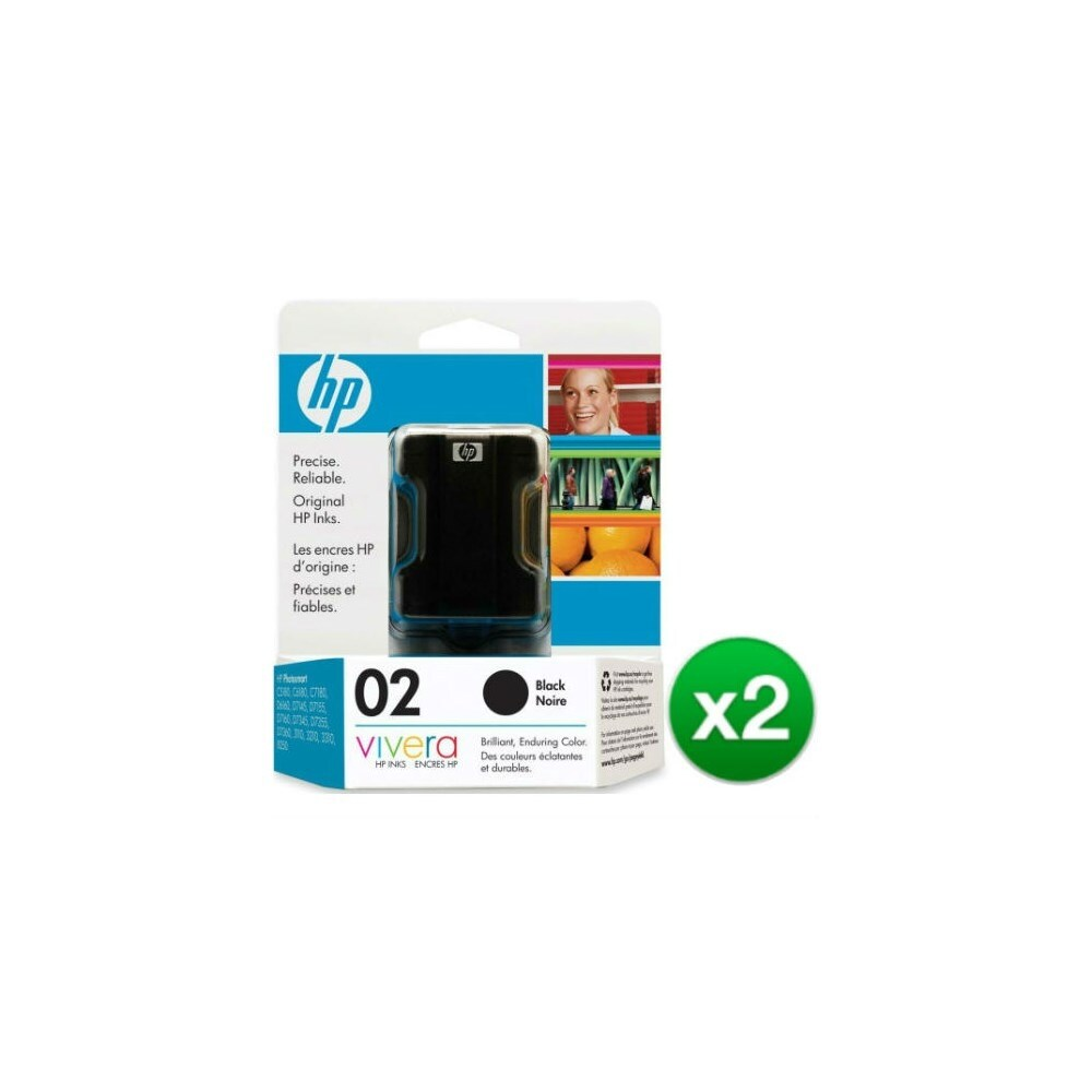 Shop HP 02 Black Original Ink Cartridge (C8721WN) (2-Pack) - Free Shipping  Today - Overstock.com - 19316185