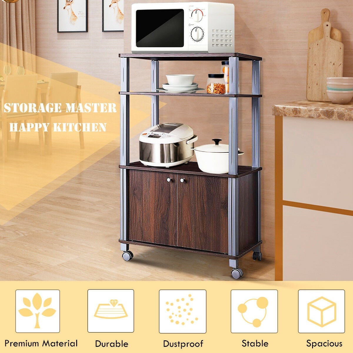 Gymax Bakers Rack Microwave Stand Rolling Storage Cart Multi Functional Display Walnut On Free Shipping Today 26889979