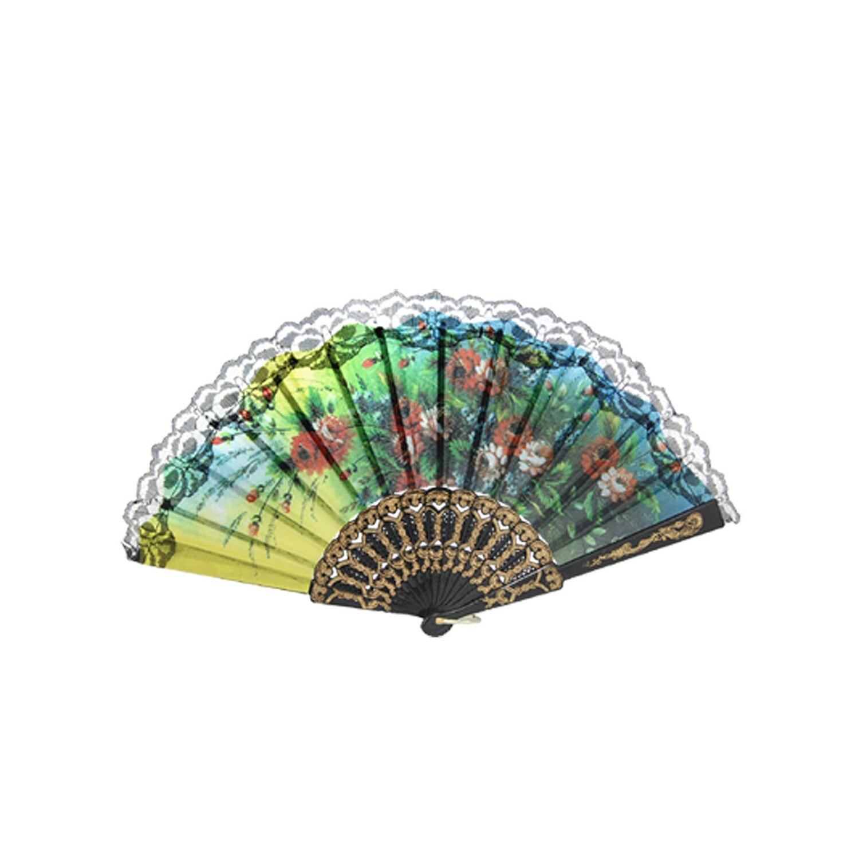 Unique Bargains Floral Leaf Pattern Cut Out Plastic Handle Folding Fan