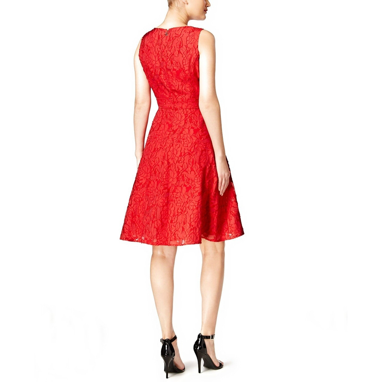 8ab755d03f0315 Shop Tommy Hilfiger Clipped Floral Organza Fit Flare Dress Red - 8 - Free  Shipping Today - Overstock - 20537507