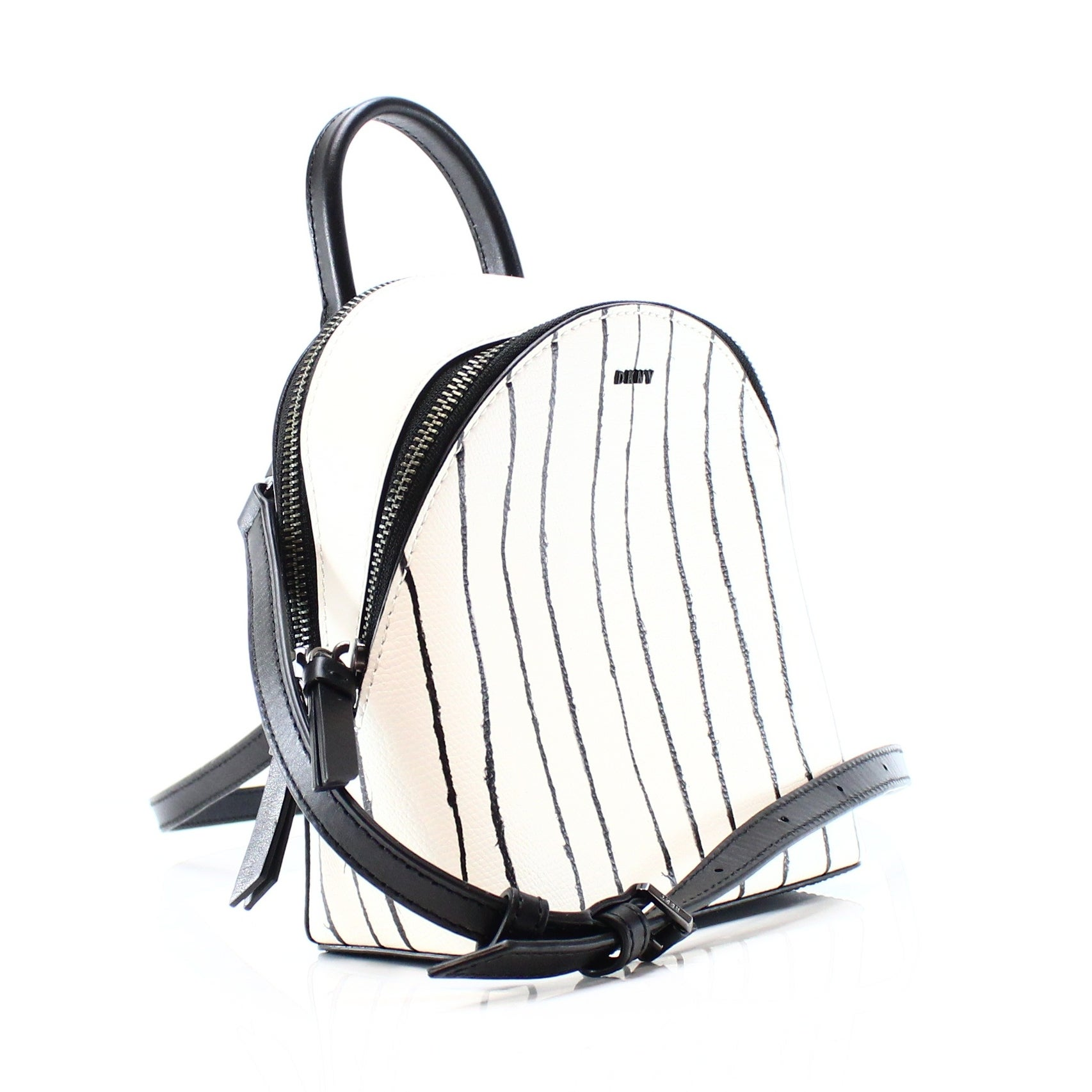 7759b80fcf Shop DKNY NEW White Striped Leather Mini Backpack Messenger Bag Purse -  Free Shipping Today - Overstock - 17768665