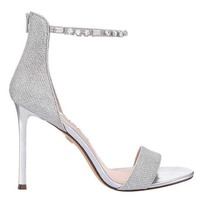 1a1c9623820 Shop Nina Women s Deena Ankle Strap Stiletto Sandal Silver Metallic Fabric  - On Sale - Free Shipping Today - Overstock - 21835548