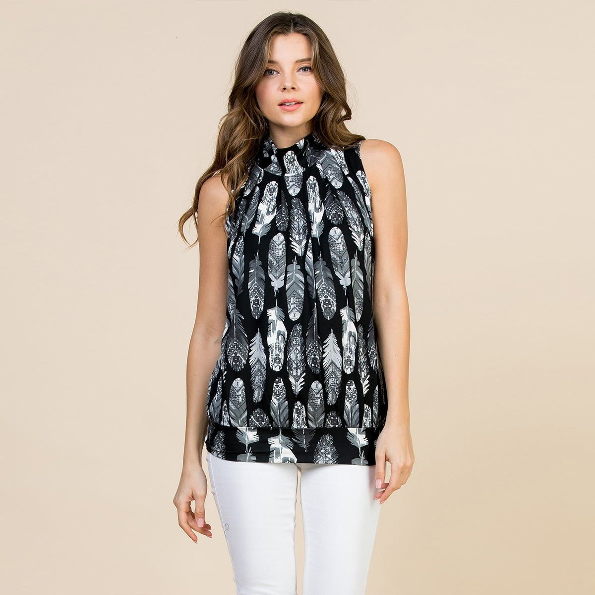 aa872817a759 Shop RIAH FASHION Women's Feather Print Mock Neck Sleeveless Top S-3X -  Free Shipping On Orders Over $45 - Overstock - 28077721