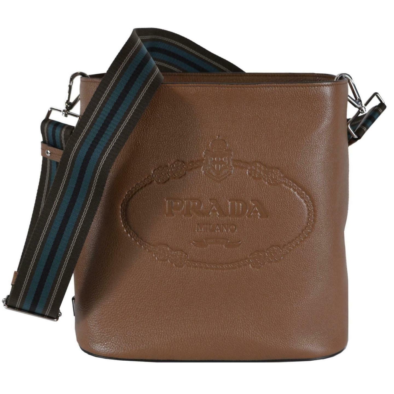 5d61886a4cd9b4 Shop Prada 1BE023 Vitello Secchiello Tan Leather Embossed Logo Crossbody  Purse - Cannella - Free Shipping Today - Overstock - 27973993