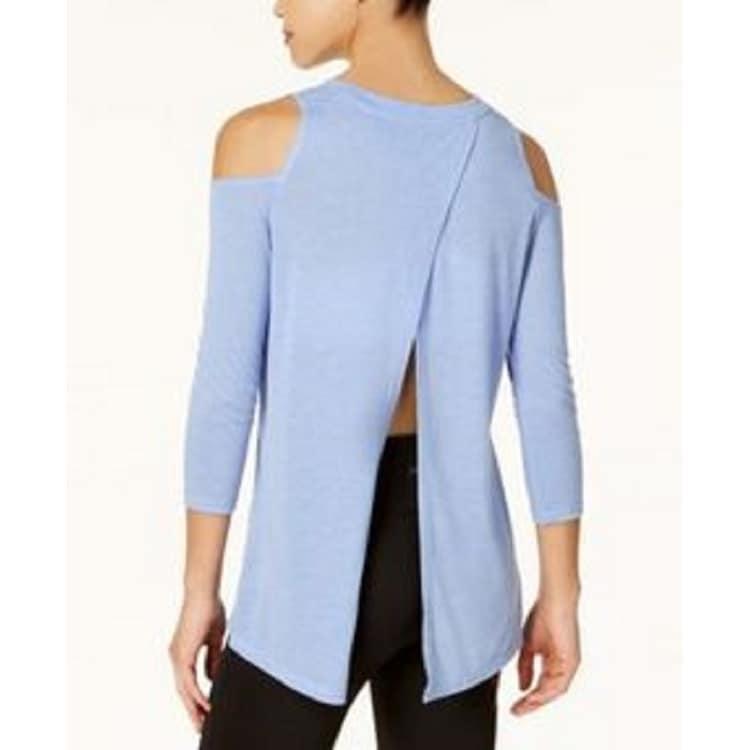 6874c667b100c Shop Calvin Klein Performance Women s Split-Back Cold-Shoulder Top Blue  Size Large - L - Free Shipping On Orders Over  45 - Overstock - 24218207