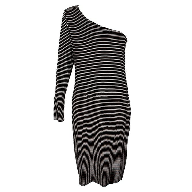 Shop Bar Iii Black White Combo Striped One Shoulder Bodycon Dress Xl