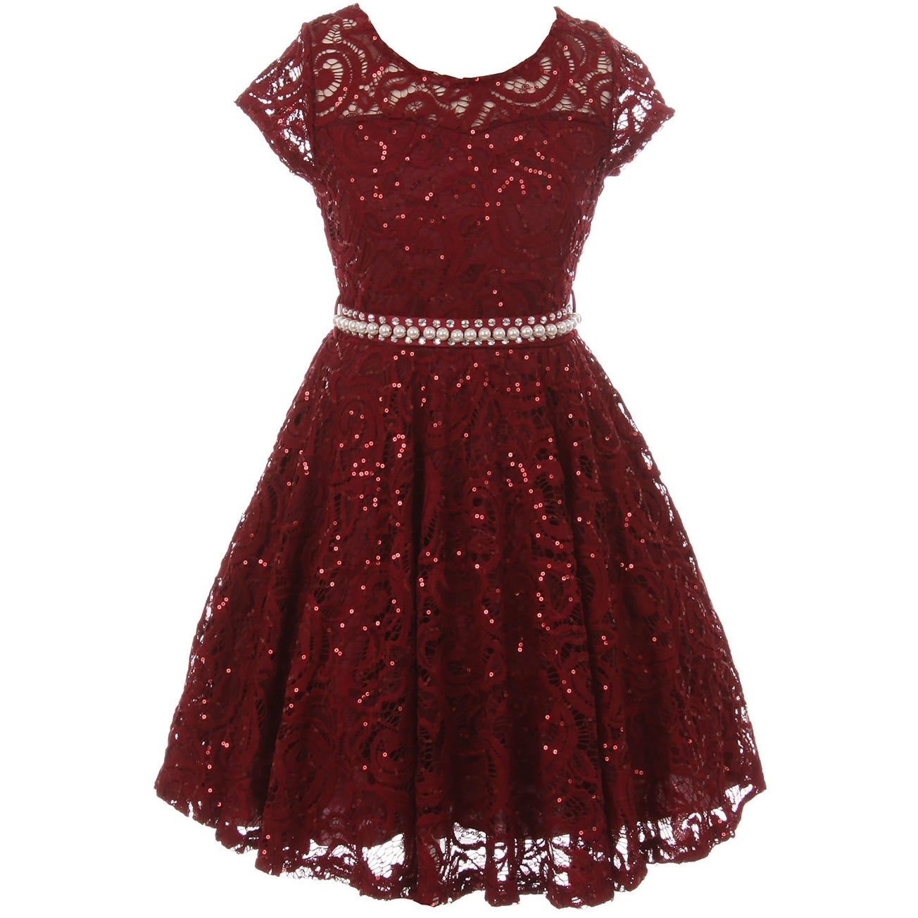 Shop Cap Sleeve Floral Lace Glitter Flower Girl Dress Burgundy JKS ...