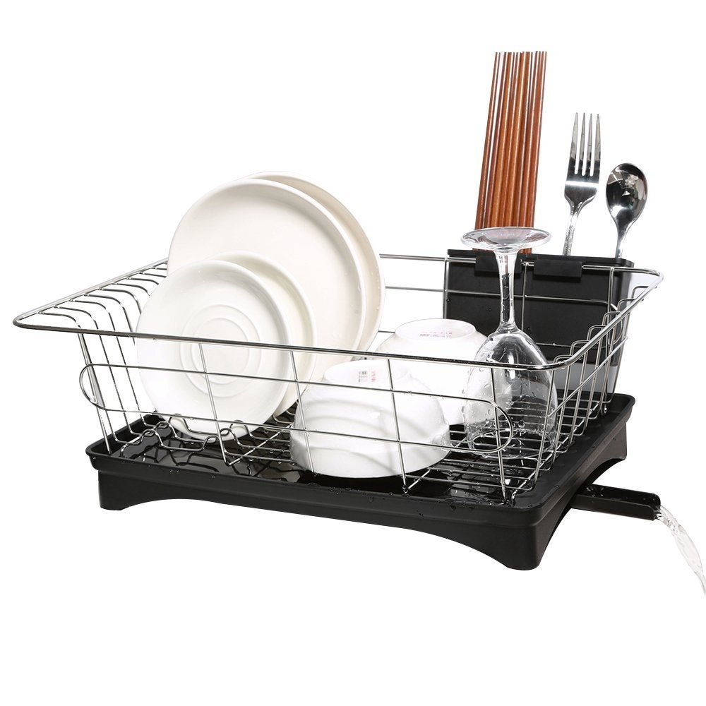 Shop HK Antimicrobial Sink Dish Rack Dish Drainer Multi Function Sturdy  Stainless Steel Dish Drying Rack W/ Black Drainboard   Free Shipping On  Orders Over ...
