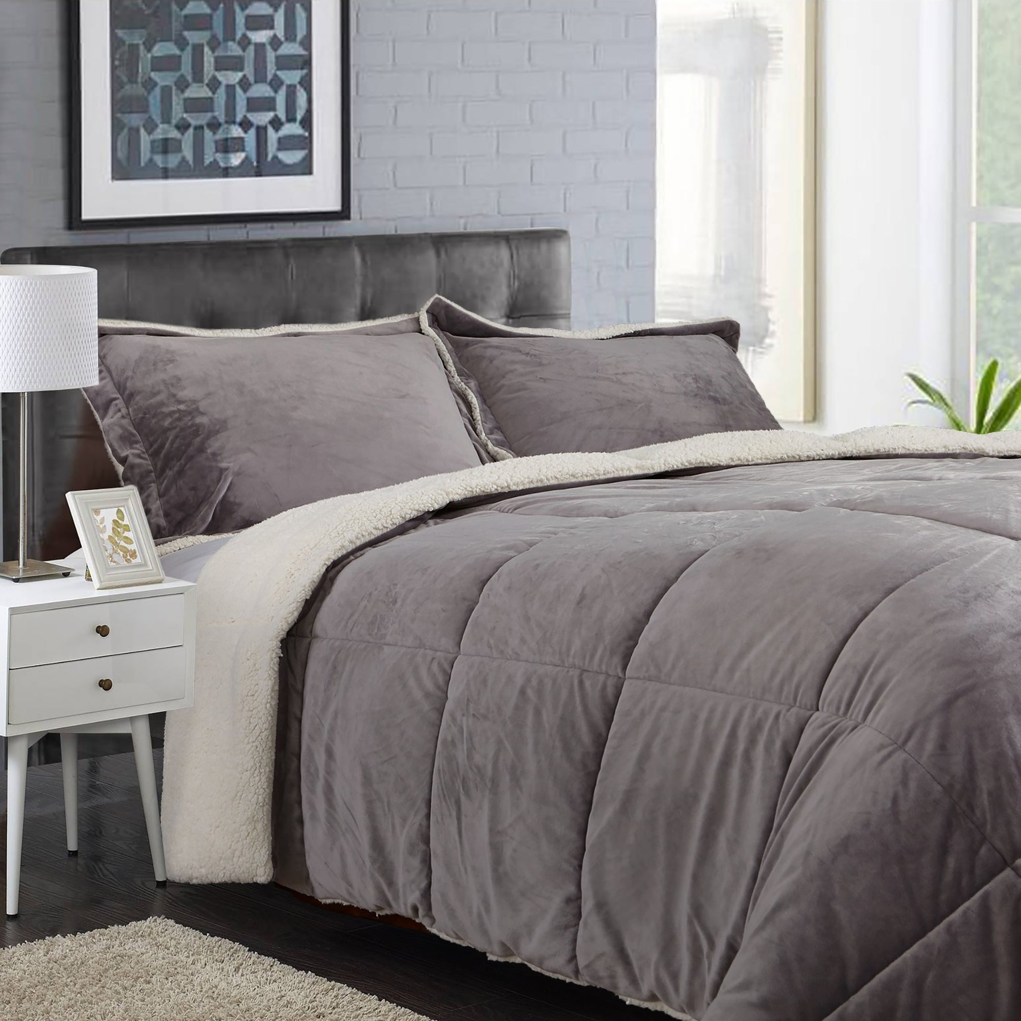 Reversible Fauxfur Sherpa Down Alternative Filled Comforter Set Overstock 31141929