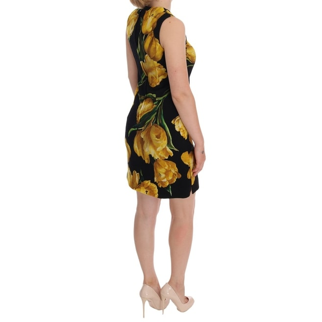 67067b62 Dolce & Gabbana Black Yellow Tulip Print Wool Shift Dress - it36-xs
