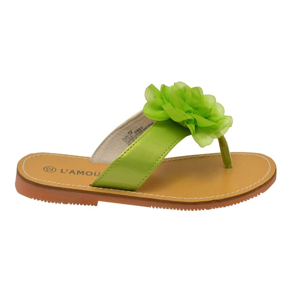 e00bb1bd941b2 Shop L Amour Girls Lime Organza Flower Adorned Thong Sandals - Free  Shipping Today - Overstock.com - 25600614