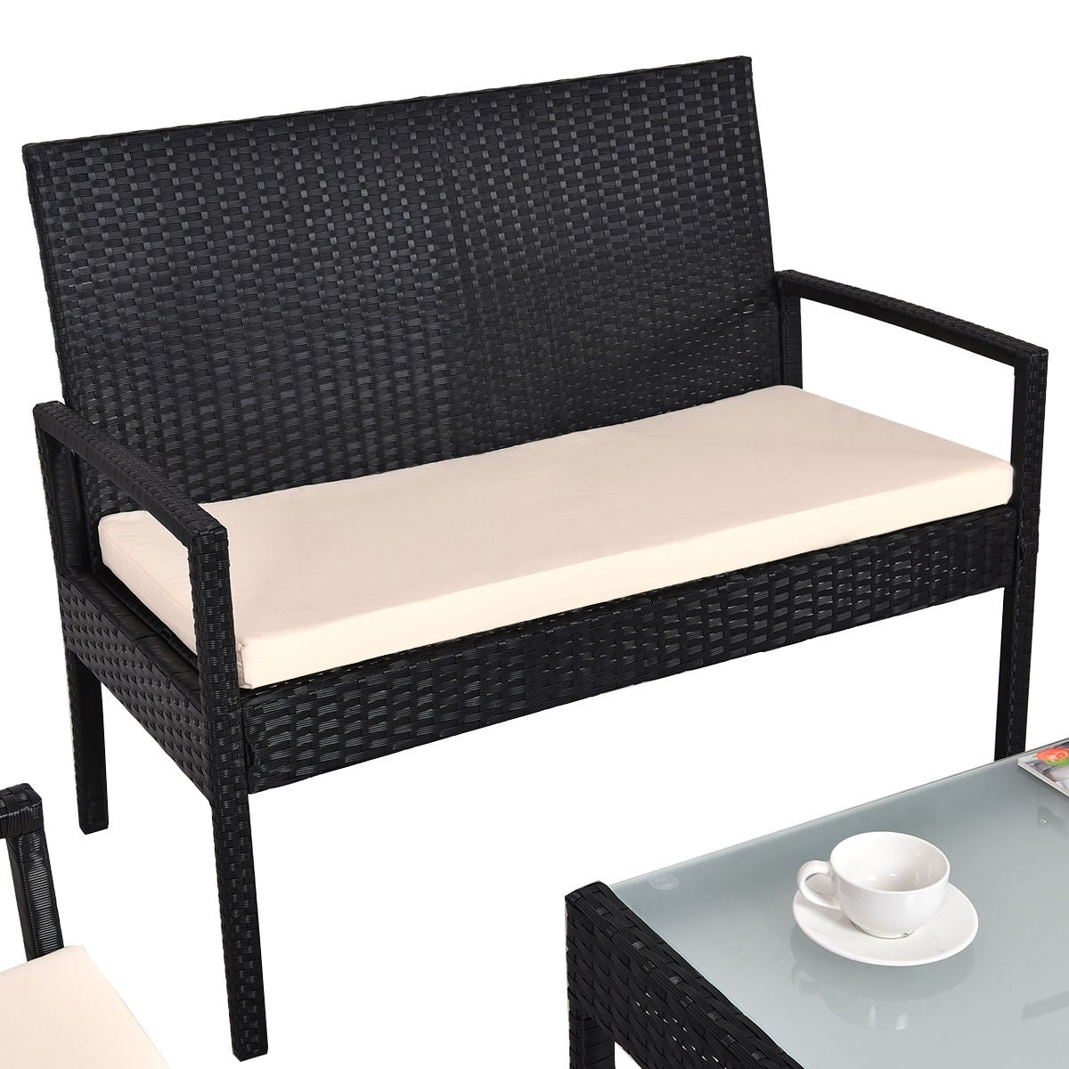 Shop Costway 4 PCS Outdoor Patio Furniture Set Table Chair Sofa Cushioned Seat Garden - On Sale - Free Shipping Today - Overstock.com - 16088556  sc 1 st  Overstock.com & Shop Costway 4 PCS Outdoor Patio Furniture Set Table Chair Sofa ...