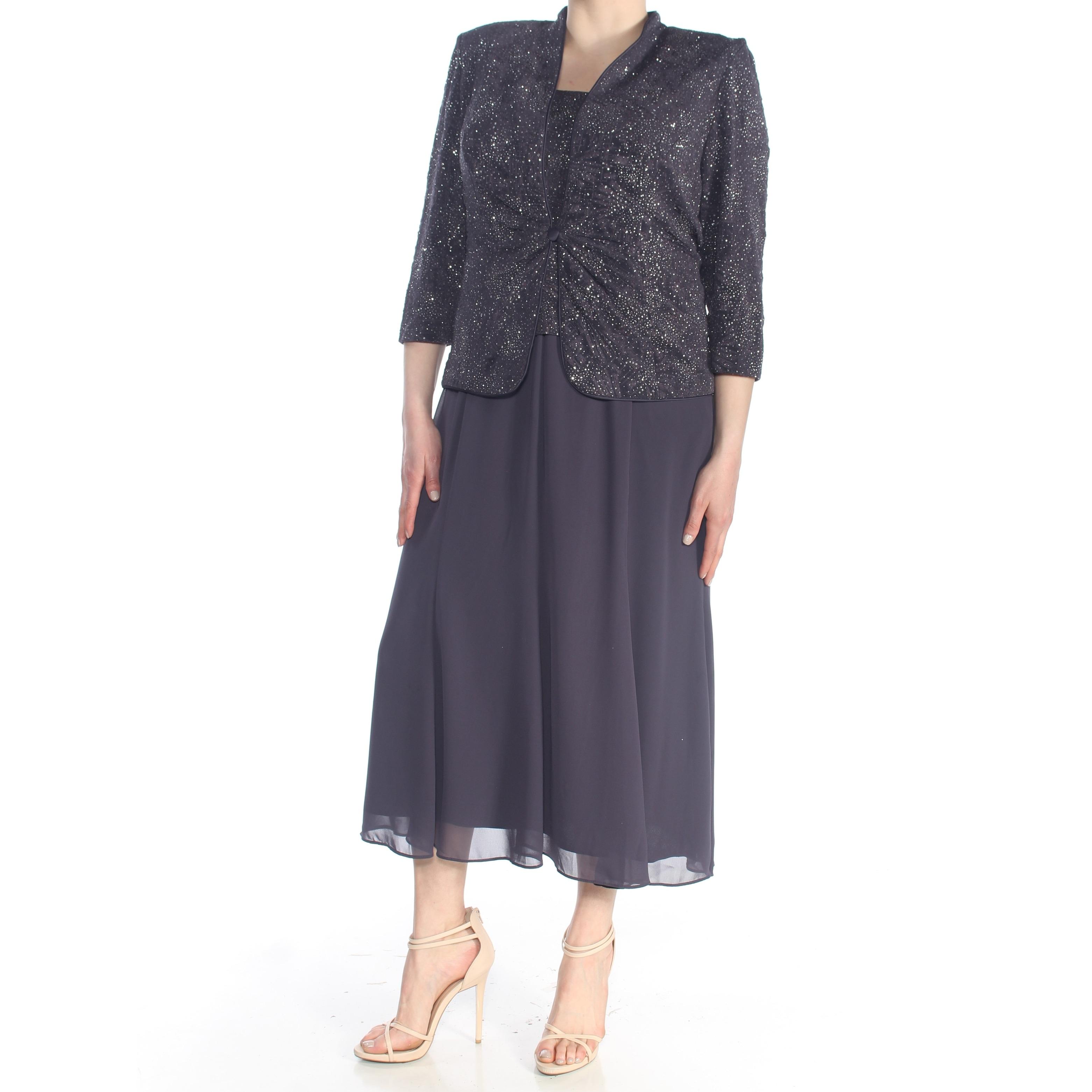 31084edfeabb ALEX EVENINGS Womens Gray Glitter 2 Piece With Jacket Evening Dress Plus  Size: 16W