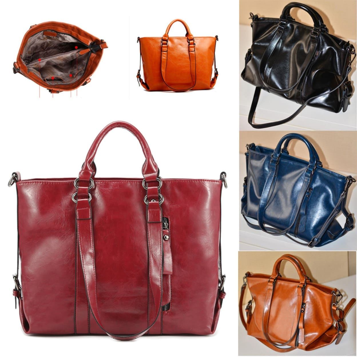 59247b4798 Fashion Leather Bags Tote Leather Handbags Women Messenger Bags Shoulder  Bags