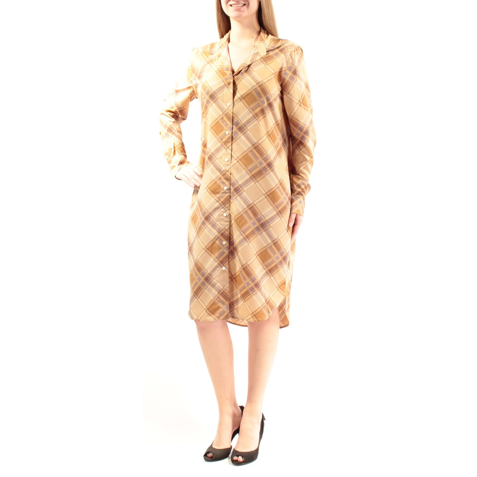 Shop Womens Beige Cuffed Below The Knee Shirt Casual Dress Size 10