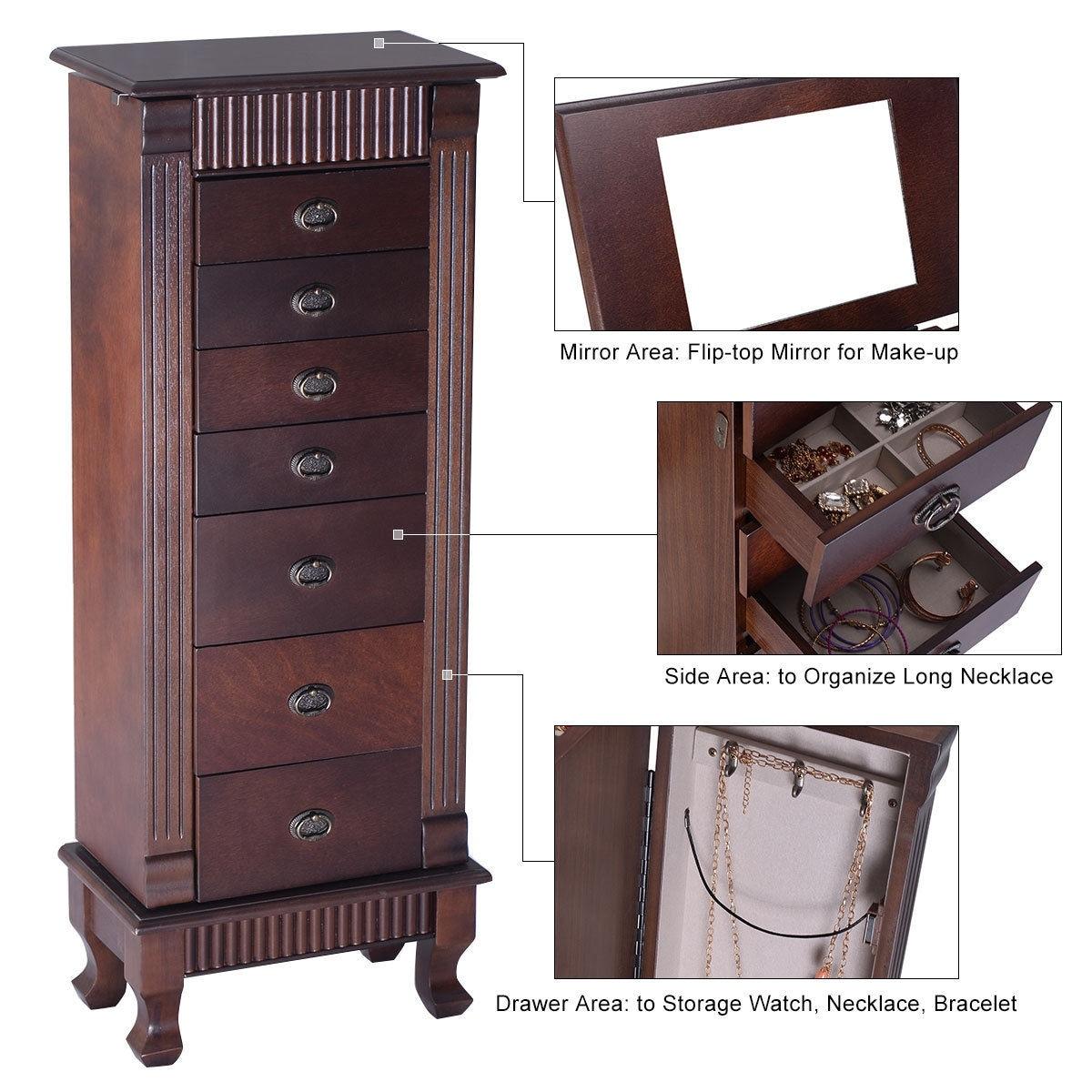 Costway Jewelry Cabinet Armoire Box Storage Chest Stand Organizer