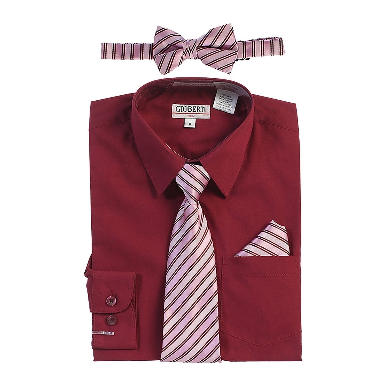 e158c251437d1 Shop Gioberti Little Boys Burgundy Shirt Necktie Bow Tie Pocket Square Set  - Free Shipping On Orders Over $45 - Overstock - 21130029