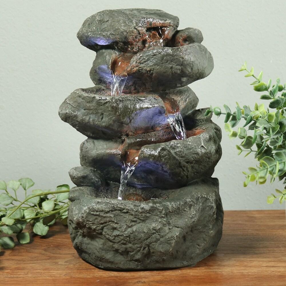 Shop Indoor Tabletop Fountain: Stacked Rocks Design Illuminated ...