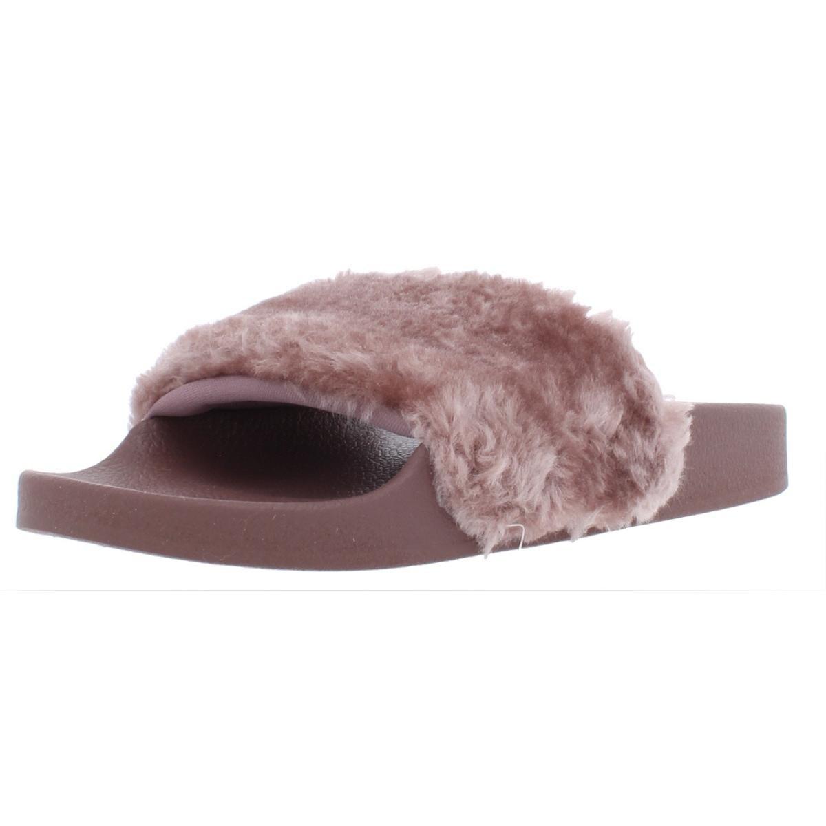 8f61b155045 Steve Madden Womens Softey Slide Sandals Faux Fur Pool