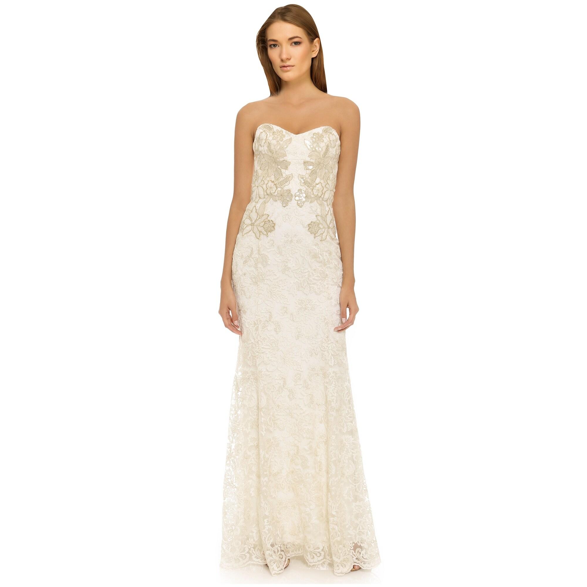 Shop Marchesa Notte Metallic Threadwork Lace Strapless Evening Gown ...