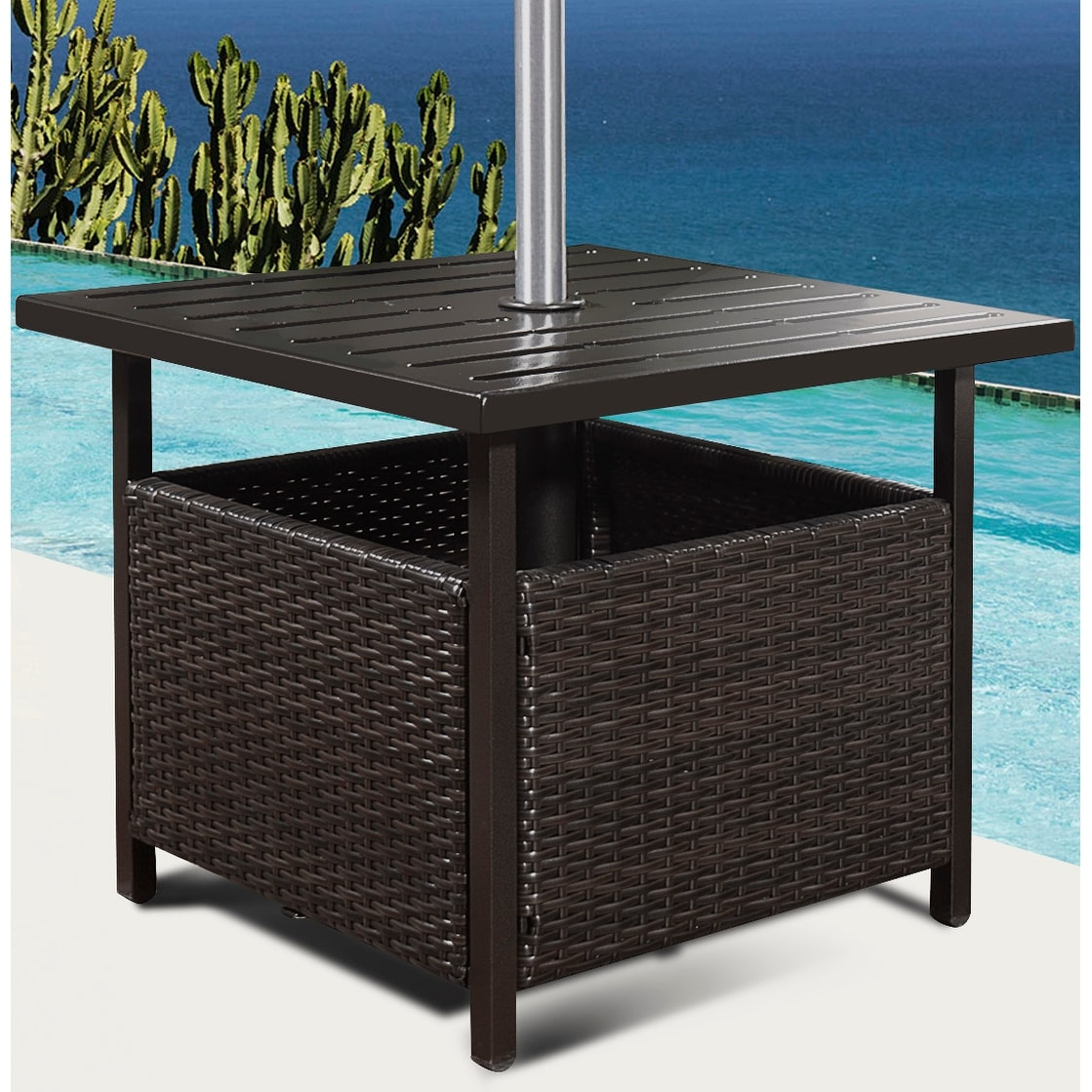 Shop Costway Brown Rattan Wicker Steel Side Table Outdoor Furniture Deck  Garden Patio Pool   Free Shipping Today   Overstock.com   16888775