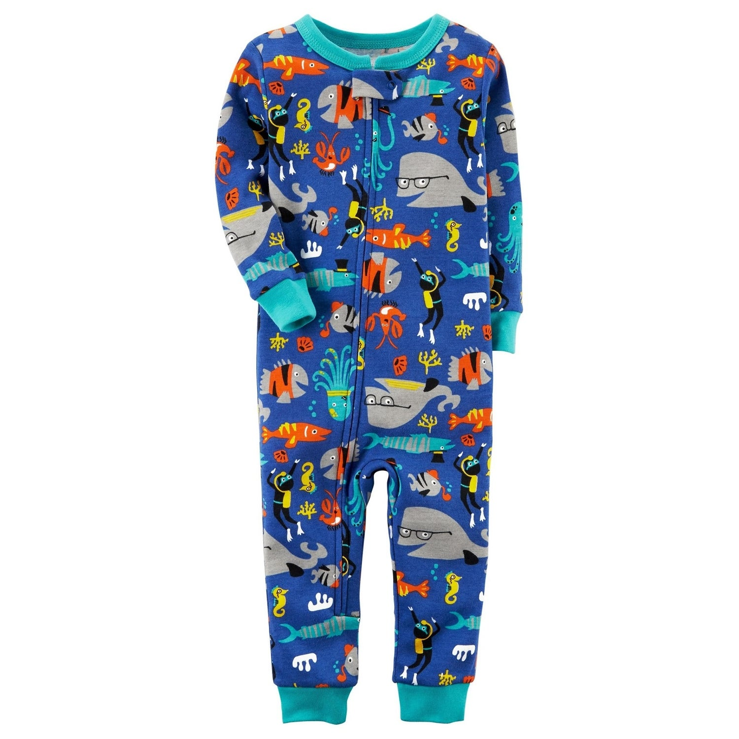 49cb9d979 Shop Carter s Baby Boys  1-Piece Fish Snug Fit Cotton Footless PJs ...