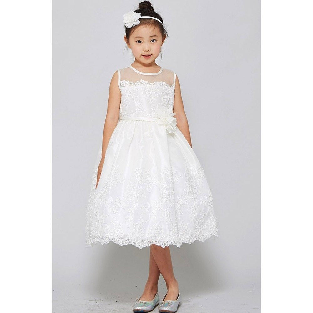 Shop Good Girl Little Girls Off White Mesh Embroidered Flower Girl